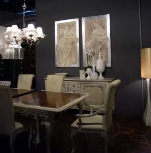 Uno scatto dell'allestimento di Mariani Affreschi ad Abitare Il Tempo con gli affreschi del Brotto