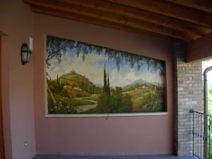Un paesaggio trompe l'oeil ambientato in esterno e realizzato da Mariani Affreschi