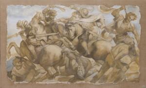 Una riproduzione realizzata da un artista di Mariani Affreschi della Battaglia di Anghiari