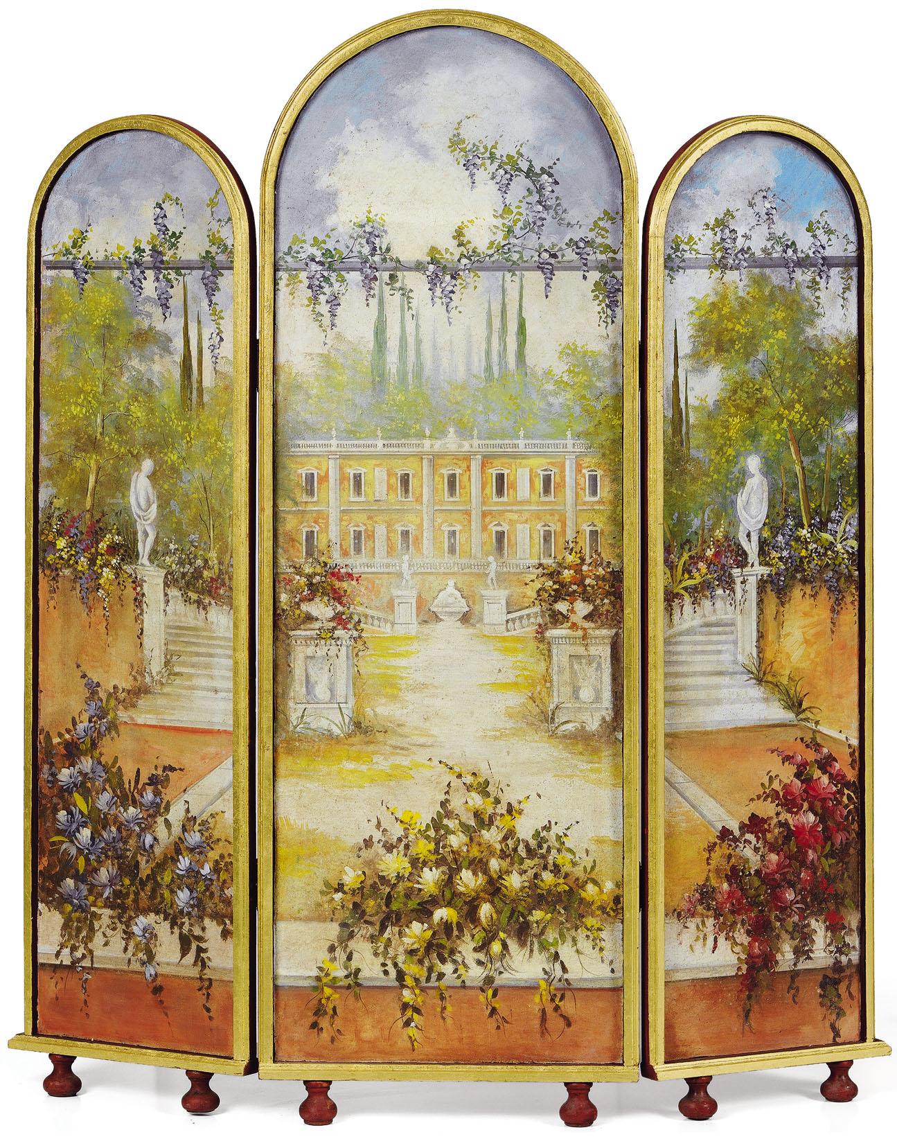 Un séparé affrescato con il tema del paesaggio realizzato da un'artista di Mariani Affreschi