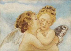 Un delizioso affresco raffigurante una coppia di Amorini, by Mariani Affreschi