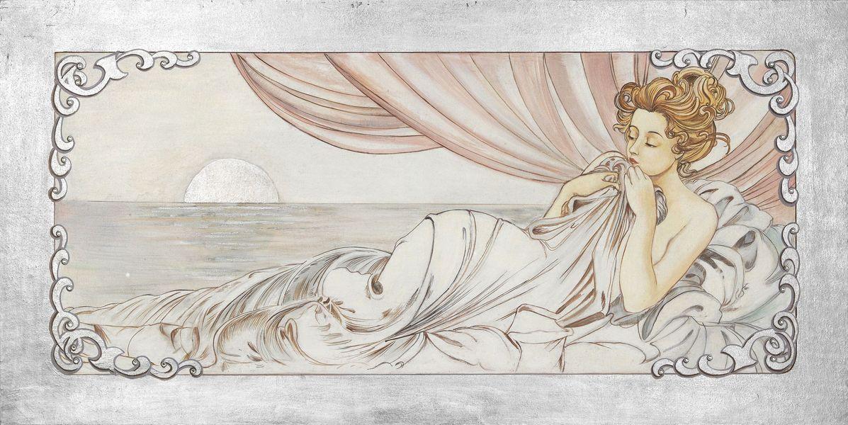 Un affresco Mariani che raffigura un'opera del pittore e scultore ceco Alfons Maria Mucha (Ivančice, 24 luglio 1860  – Praga, 14 luglio 1939)