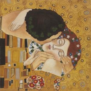 """Un particolare de """"Il bacio"""" (1907-1908) in un affresco firmato Mariani"""