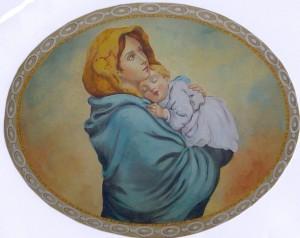 Un soggetto classico e molto raffinato: l'affresco di Mariani con soggetto la Madonna con bambino