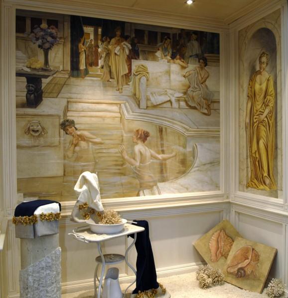 """""""Donne al bagno"""" di Alma Tadema in un affresco realizzato da Mariani"""