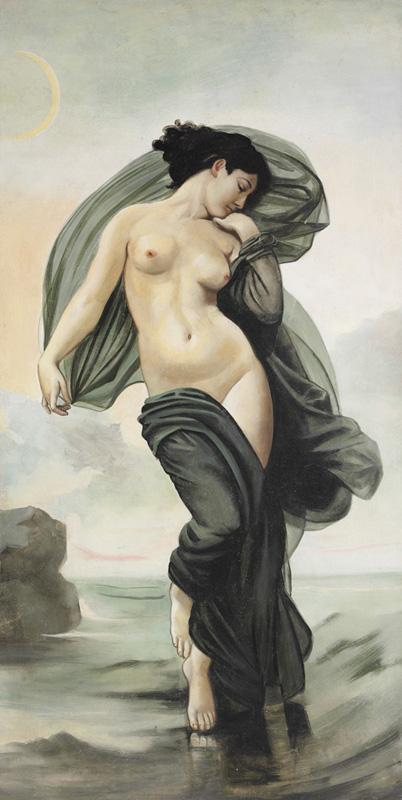 """Nell'immagine un affresco di Mariani che si ispira al dipinto """"Evening Mood"""" di William A. Bouguereau (1825-1905)"""
