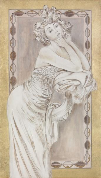 Una linea nitida disegna le figure del Mucha in un affresco realizzato da un artista di Mariani