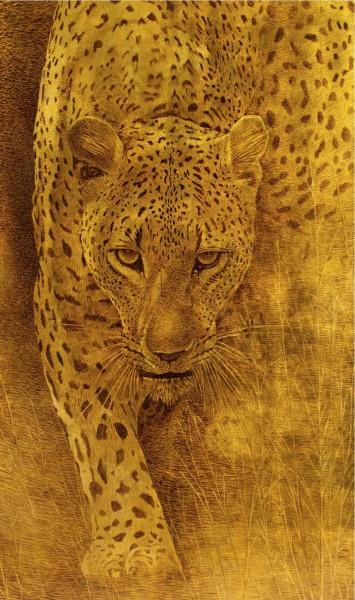 """""""Leopardo"""" by Arte Mariani, opera dipinta a mano su foglia oro"""