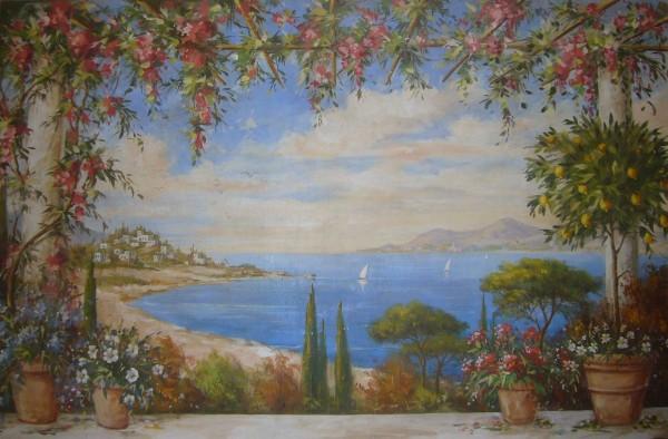 Fiori, limoni e mare, una finestra di affresco by Mariani affacciata su un paesaggio di vacanze