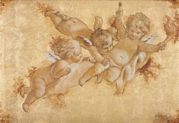 I putti con fiaccola su foglia oro by Mariani Affreschi