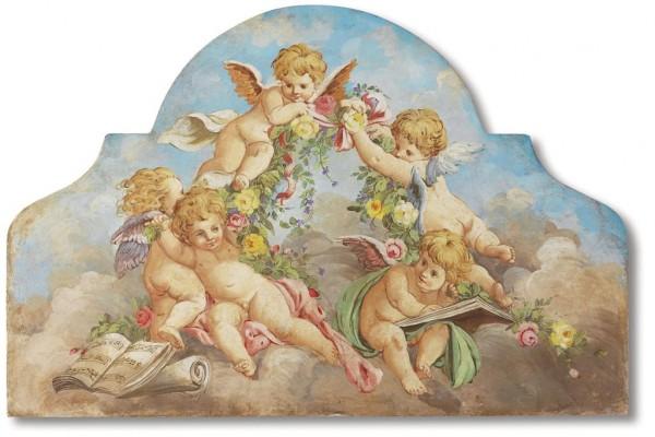 Stile classico e armonia delle forme contraddistinguono questo dolce affresco di putti ispirato al Boucher