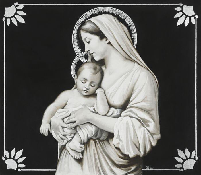 Madonna con bambino della collezione Introspezioni realizzata ad affresco e finita con particolari in foglia argento by ArteMariani