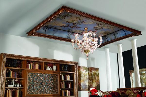 """La """"finestra sul cielo"""" in un soffitto trompe l'oeil decorato da Mariani Affreschi, struttura in legno by Bakokko Group"""