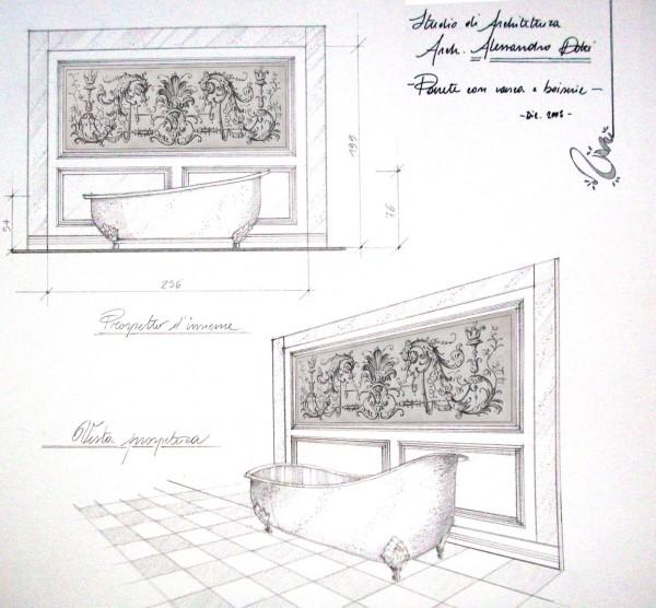 Affresco con fregio decorativo per una parete in boiserie in zona bagno. Studio realizzato dall'arch. Alessandro Dotti