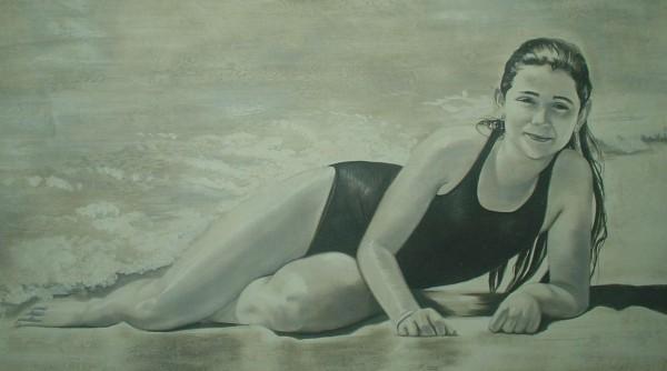 La fotografia di una donna al mare diventa un affresco, un oggetto unico ed eterno