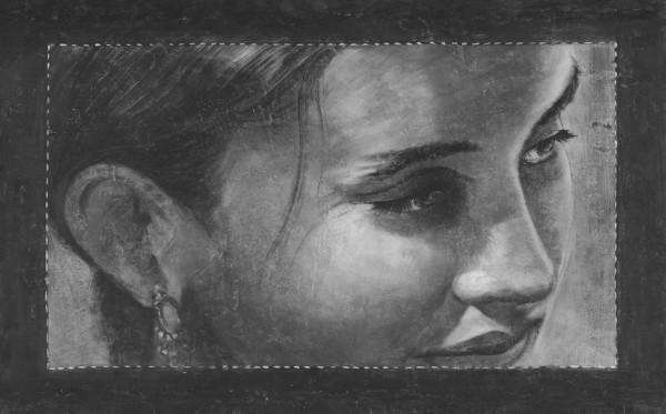 Il ritratto di una donna realizzato da mariani affreschi prendendo ispirazione da una fotografia
