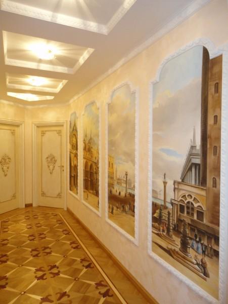 L'affresco è stato applicato in loco, nel corridoio di un prestigioso appartamento a San Pietroburgo