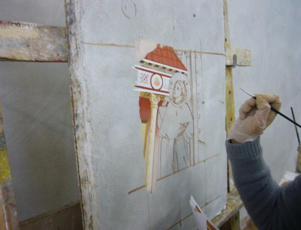 1.L'esecuzione dell'affresco degli artisti Mariani per il volume FMR-Art'è dedicato a San Francesco