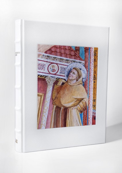 Il volume realizzato da FMR-Art'è con la copertina che raffigura San Francesco creata su misura dai maestri artigiani di Mariani