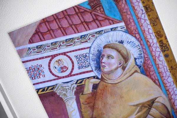 Un particolare dell'affresco, ispirato all'opera di Giotto, sulla copertina del volume