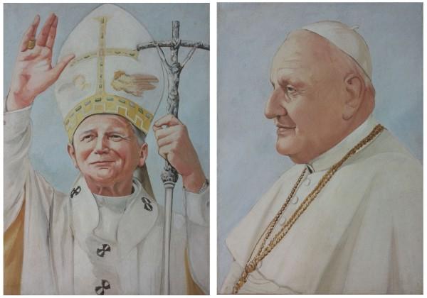 L'opera completa: il ritratto ad affresco di Papa Giovanni Paolo II e Papa Giovanni XXIII