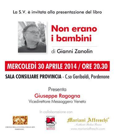 """La locandina con l'invito alla presentazione del libro """"Non erano i bambini"""" di Gianni Zanolin"""