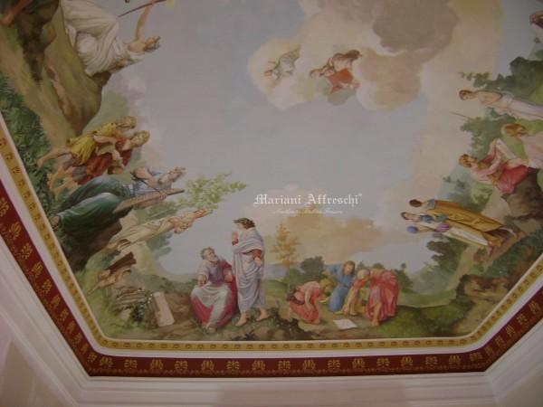 L'opera finita: un affresco ispirato alle scienze e di imponenti dimensioni avvolge la sala biblioteca di un prestigioso ed antico palazzo siciliano