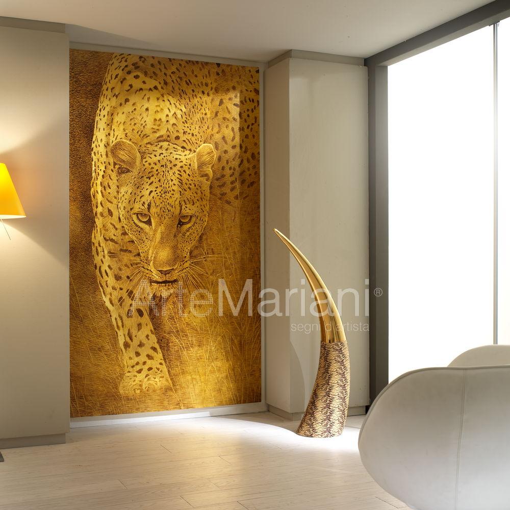 L'arte Animalier rende nuovi e speciali gli ambienti: qui un'opera che arreda una casa in stile minimal dando carattere e personalità allo spazio