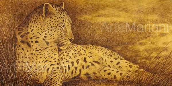 Nella savana riposa il leopardo, una versione del soggetto con finitura in foglia oro