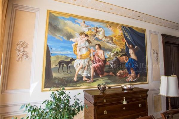 """""""Diana ed Endimione"""", dipinta a parete dagli artisti di Mariani in fedele riproduzione del capolavoro di Nicolas Poussin, oggi custodito nel Museo di Detroit"""