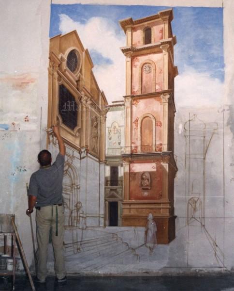 Un affrescatore di Mariani è impegnato nell'esecuzione di un paesaggio di grandi dimensioni