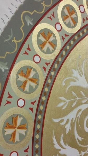 Un dettaglio dell'opera in corso di realizzazione, che è servita nel dialogo con il committente per verificare la corretta cromia dell'opera