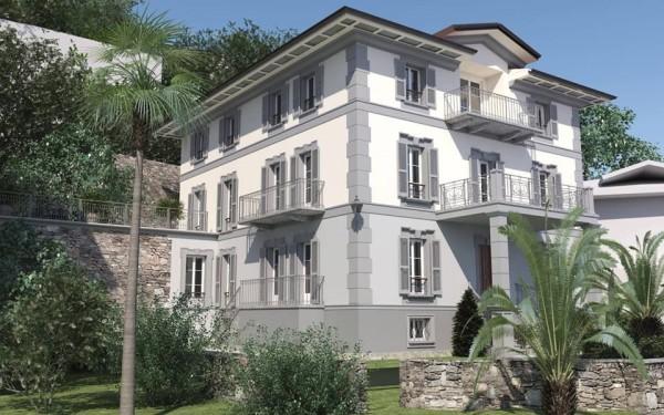 Un rendering della facciata esterna, al termine dei lavori voluti dal suo proprietario. La villa si trova a Cannobio, un borgo meraviglioso sulle sponde del Lago Maggiore