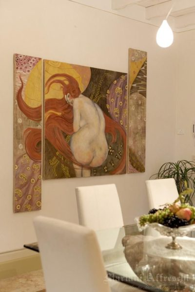 "Detail of ""Golden Fish."" Our reinterpretation of the Klimt painting brightens up this interior"