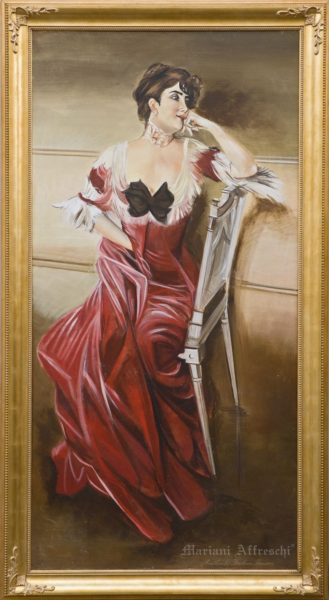 Portrait of a Lady (inspired by Giovanni Boldini, Miss Bell). The fresco is included in Mariani Affreschi's classic catalogue