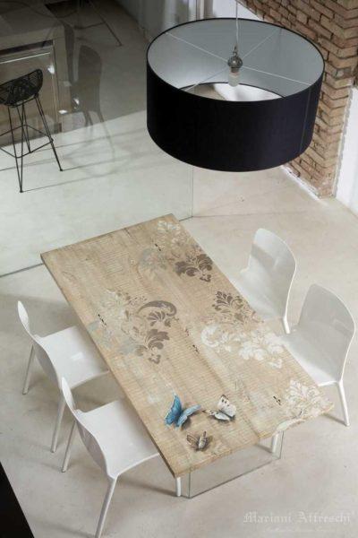 Art.T001 Nuance di damasco-Collezione Tavoli d'Arte by Mariani Affreschi