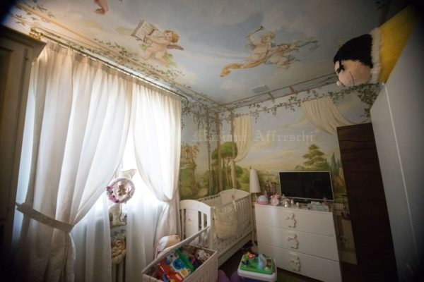 Affresco a parete e soffitto con paesaggi e decorazioni di angeli custodi