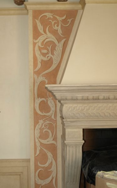 Decoration on the fireplace wall
