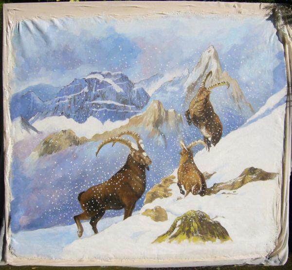 """""""Stambecchi nella neve"""" è il titolo dell'affresco realizzato da Mariani Affreschi per l'Hotel Jumeaux"""