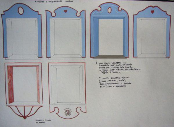 Bozzetto per la decorazione delle finestre in facciata (Hotel Jumeaux, Cervinia)
