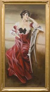 Una donna del Boldini in una riproduzione realizzata da Mariani Affreschi