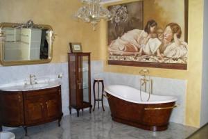 Raffinato ed elegante ecco un esempio di un'opera realizzata da Mariani Affreschi e inserita in un bagno particolare