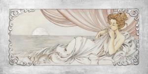 Un'interpretazione di un dipinto del Mucha realizzata da un'artista di Mariani Affreschi