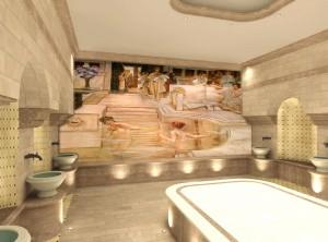 Nell'immagine il rendering di un affresco realizzato da Mariani Affreschi per un centro benessere