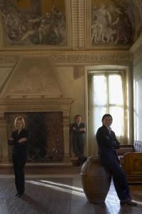 Da sinistra Laura, Alberto e Alessandro Mariani, titolari di Mariani Affreschi