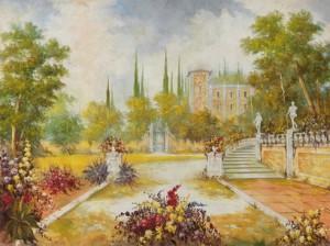 I colori morbidi e sfumati, la luminosità dell'affresco, la magia del paesaggio realizzata da un maestro d'arte di Mariani