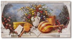 Un affresco a tema floreale con strumenti musicali by Mariani Affreschi