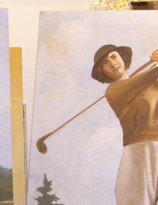 Particolare di un affresco a tema golf realizzato da un artista di Mariani Affreschi