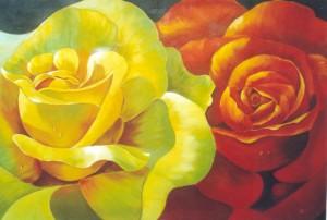 Fiori e rose, simbolo di bellezza e giovinezza in un affresco by Mariani