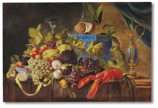 Una splendida natura morta con frutta e astice in un affresco che si ispira all'opera di Jan Davidsz De Heem (sec. XVII)